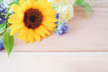 レースのカーテンの窓辺に飾られた色とりどりの花たち。カーネーション、バラ、カスミソウ、クレマチス。