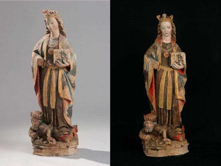 Autre statue de Sainte Catherine d'Alexandrie, très ressemblante à la statue de Noyelles-lez-Seclin - XVe siècle à Rossillon dans l'Ain.