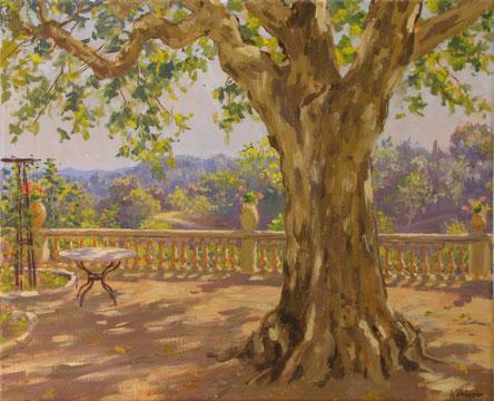 Tony Wahlander (Wåhlander) Le platane d'une terrasse de Bastide Provençale