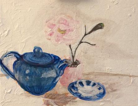 Teekanne und Teetasse gehören zum Afternoon Tea dazu - Acrylbild Original der Künstlerin Karin Busch