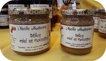 Délice miel et noisettes de l'abeille villadeenne, pâte à tartiner composée de miel de tournesol et de noisettes concassées