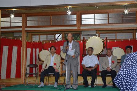夜の部 開会セレモニー 挨拶をする中上林地区自治会連合会の岸本会長