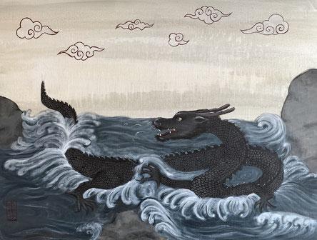 """Water dragon"", 60x80 cm"