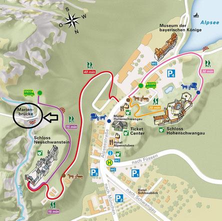 Übersichtskarte Hohenschwangau