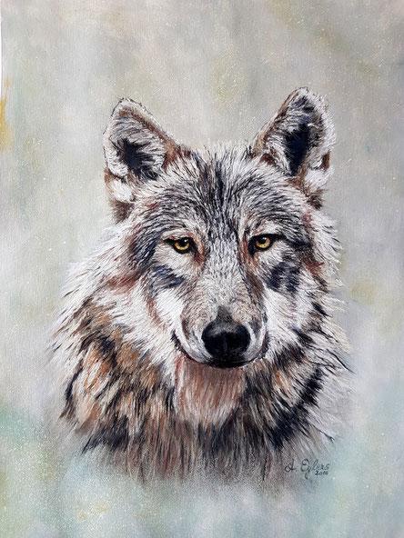 Wolf, Pastellkreide 50x70,  2016   verkauft