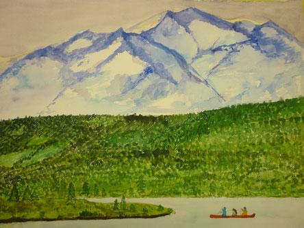 wild, weit, wunderbar!  Lake Clark Nationalpark in Alaska, Kanu fahren mit Blick auf ewiges Eis!