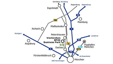 Lage zwischen München, Augsburg und Ingolstadt