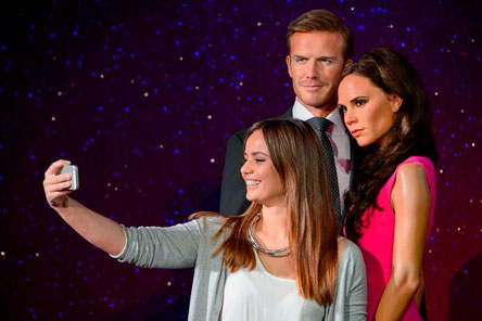 David and Victoria Beckham figures at Madame Tussauds
