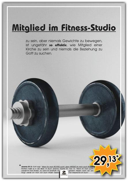 christliches Poster, Schaukasten Plakat, Fitness-Studio, Beziehung zu Gott