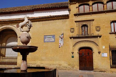 Photographie, Espagne, Andalousie, Cordoue, judería, rue, affiche, colonne, fontaine, plaza del potro, ocre, Mathieu Guillochon