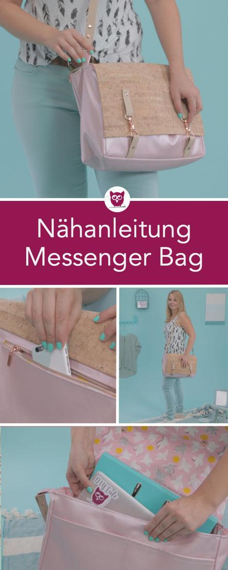 Nähanleitung für die Messenger Bag #CommunityTascheConny aus dem #DIYeuleBuch mit Platz für Ordner, Laptop und mehr – perfekt für Uni und Büro. Anleitung von DIY Eule.
