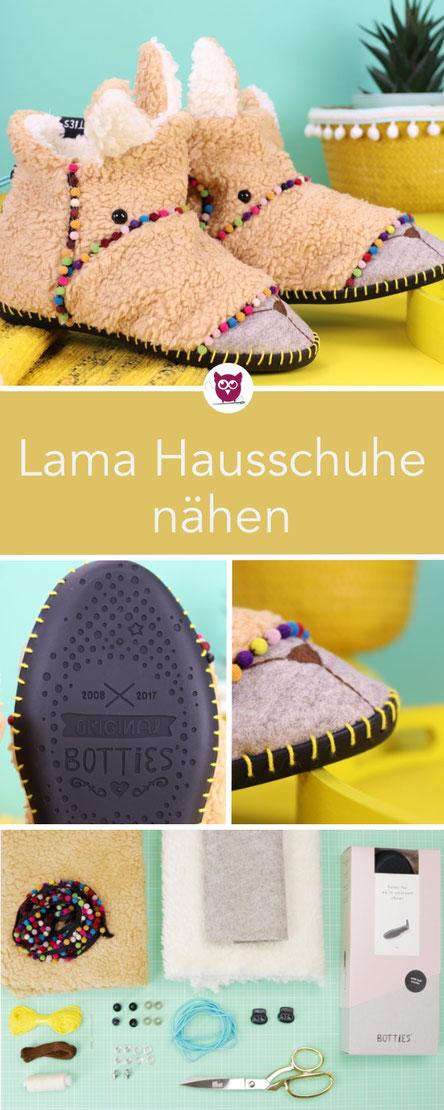 [Werbung] Lama Hausschuhe nähen mit Botties Sohlen: Puschen einfach selber nähen im Lama oder Alpaka Style mit Bommelborte. Kostenloses Schnittmuster und Videoanleitung. Auch für Kinder oder Männer. Nähanleitung von DIY Eule.