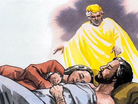 Un ange de Dieu apparaît dans un rêve à Joseph et lui dit: «Lève-toi, prends le petit enfant et sa mère, fuis en Egypte et restes-y jusqu'à ce que je te parle, car Hérode va rechercher le petit enfant pour le faire mourir.»