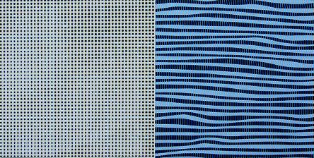 Doppelquadrat GrauSchwarzBlau, Linolschn./Siebdruck, 18 x 36 cm, 2019