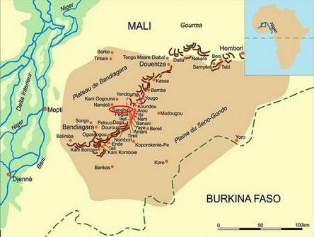 Carte du pays dogon (cliquez pour agrandir)