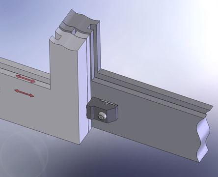 Einbausituation der Schiebetürsicherung FTS801-key
