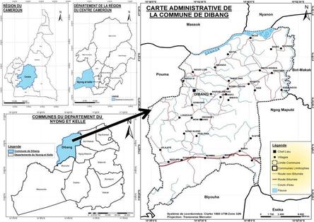 Carte administrative de Dibang