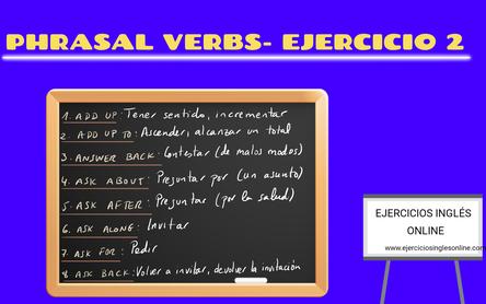 Phrasal verbs - Ejercicio 2