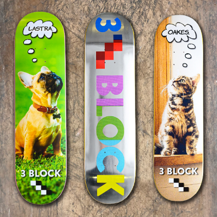 3Block Skateboards Winter 2020 Decks / VMS Distribution Europe - Revive Force 3Block Braille Carlos Lastra No Signal Josh Oakes Thoughtful Cat Dog Silver Foil