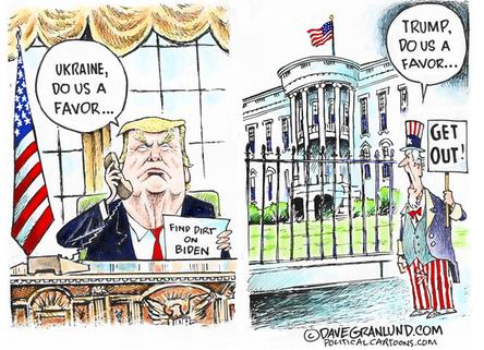 """Trump asks favor of Ukraine"", by Dave Granlund / Sept 28, 2019"
