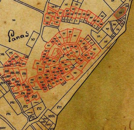 Cadastre de 1813 section B, detail du vieux village  (Photo retouchée pour plus de lisibilité)