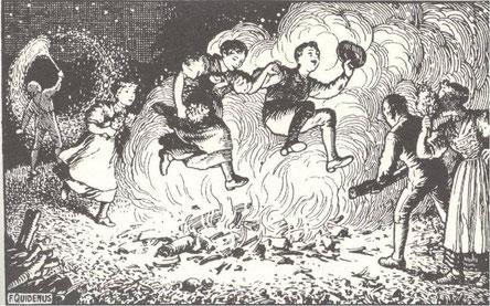 Sprung über das Johannisfeuer
