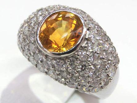 ゴールデンサファイヤリング プラチナ