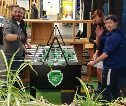 Stefanie Neupert and Paul Szyszka are looking for foosball player in Dunedin