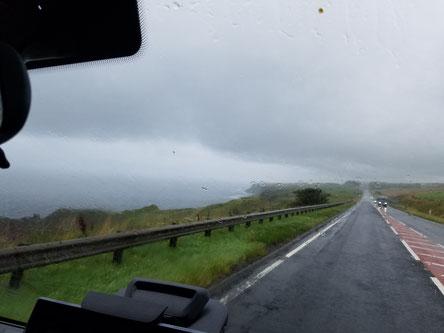 An der schottischen Ostküste entlang Richtung England im Dauerregen