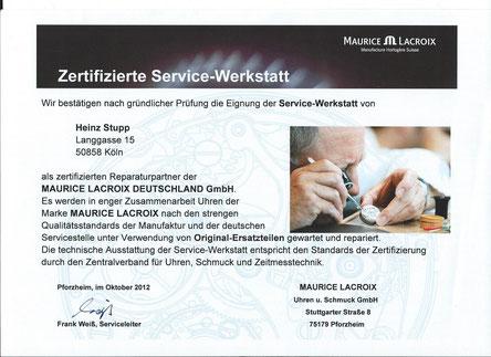 Zertifizierung Maurice Lacroix