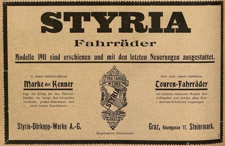 Quelle: Österr. Nationalbibliothek, Österr. Fahrrad- und Automobil-Zeitung, Sa, 25. Februar 1911.