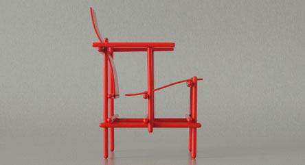 Stick  chair, rote Miniatur, Miniaturstuhl mit abgerundeten Sitzflächen, selfmade designstuhl