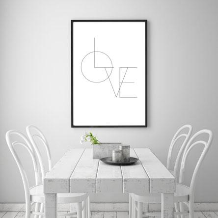 Typografie-Poster, Typografie Print, Liebes Print