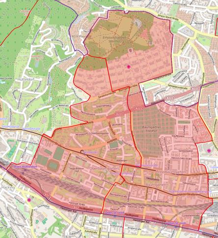 """Die Pfarren Baumgarten und Oberbaumgarten bilden gemeinsam den Entwicklungsraum """"Dekanat 14 Mitte"""". Hier sehen Sie das gemeinsame Gebiet."""