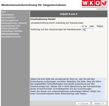 WKO- Mindestumsatzberechnung Schritt 8