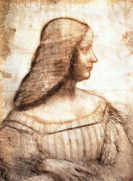 レオナルド・ダ・ヴィンチがイザベラを描いたドローイング。Wikipediaより。