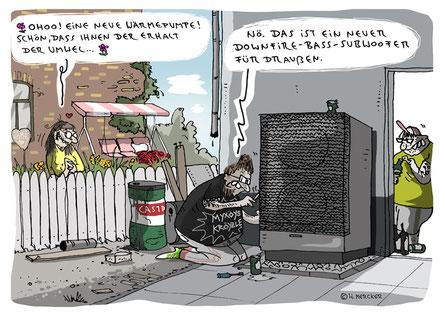 """Vom Cartoonisten Hannes Mercker: Cartoon """"Freeclimbing"""" über schiere Größe ..."""