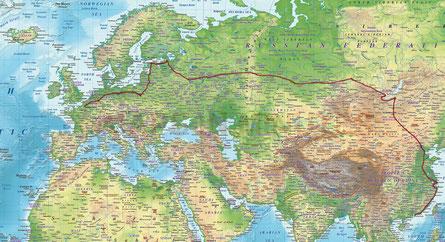 Itinéraire du voyage - Crédits: Fond de carte Atlasdigitalmap.com