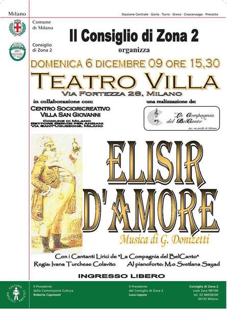 """""""ELISIR D'AMORE"""" – Teatro Villa, 6/12/2009"""