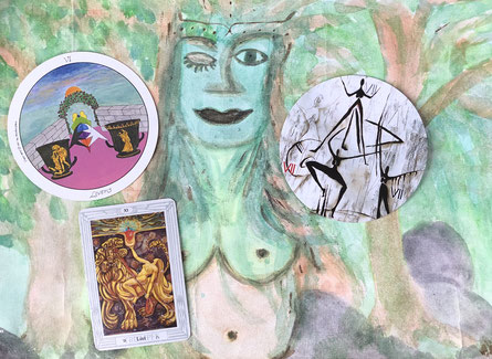 Maikönigin / Sirkka Wittke 2002, Tarotkarten Motherpeace, Crowley, Göttinenzyklus