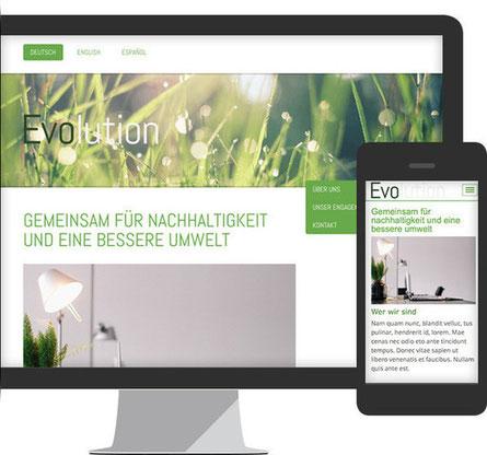 Imagem mostra a versão para desktop como a versão mobile de um site criado com Jimdo