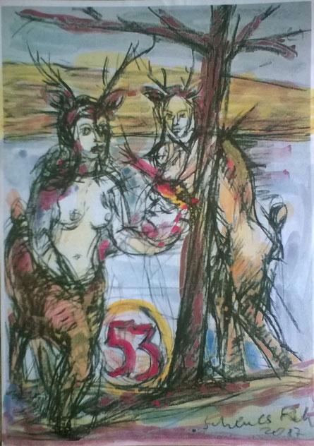 Scheues Reh 29 x 22 Kohle Aquarell auf Papier 2017