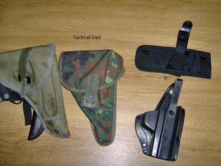 Die militärischen Holster links sind für die Jagd sehr gut geeignet, da sie die Pistole schützen und vor Verlust sichern.  Schnellen Zugriff gewähren sie jedoch nicht.