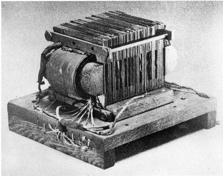 William Stanley's transformer, used in the electrification of downtown Great Barrington, MA, in 1886. The system was virtually identical to the system used for the distribution of electric power today.