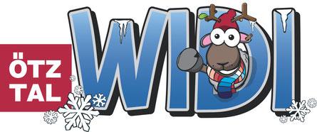 © Ötztal Tourismus; Ötztal, WIDI, Maskottchen, Illustration, Grafik, Winter, Schriftzug, Ötztal Logo, Schneeflocken, Eiszapfen, WIDI winkt