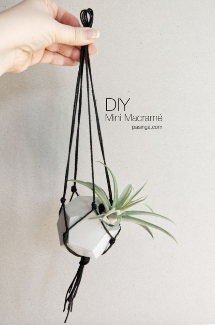 How to make a DIY mini Macramé plant hanger for PASiNGA geometric concrete vessels