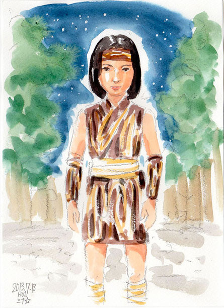 スケッチ:日本の古い部族にいた女性の前世さん