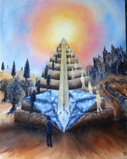 La piramide dei valori 2017 -  oil on canvas - Private collection IT