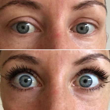 Three layers of our extension kit, using microfibres and setting gel mascara. Adds so much tickness and length to my lashes.