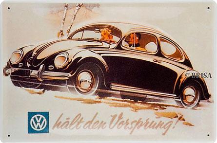 VW Käfer, Blechschild,Blechpostkarte